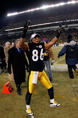 PITTSBURGH, PA - JANUARY 23:  Hines Ward #86 of the Pittsburgh Steelers celebrates their 24 to 19 win over the New York Jets in the 2011 AFC Championship game at Heinz Field on January 23, 2011 in Pittsburgh, Pennsylvania.  (Photo by Gregory Shamus/Getty