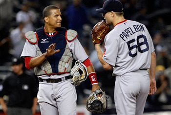 NEW YORK - SEPTEMBER 26:  Catcher Victor Martinez #41 of the Boston Red Sox talks to pitcher Jonathan Papelbon #58 during the ninth-inning aganinst the New York Yankees bunt attempt in the 10th inning on September 26, 2010 at Yankee Stadium in the Bronx b