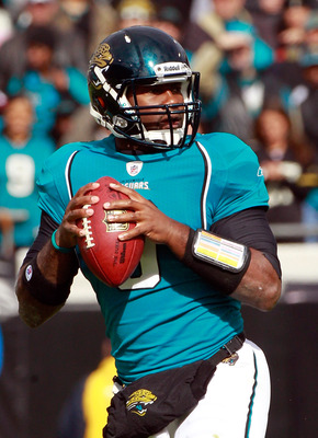 JACKSONVILLE, FL - DECEMBER 12:  Quarterback David Garrard #9 of the Jacksonville Jaguars attempts a pass during the game against the Oakland Raiders at EverBank Field on December 12, 2010 in Jacksonville, Florida.  (Photo by Sam Greenwood/Getty Images)