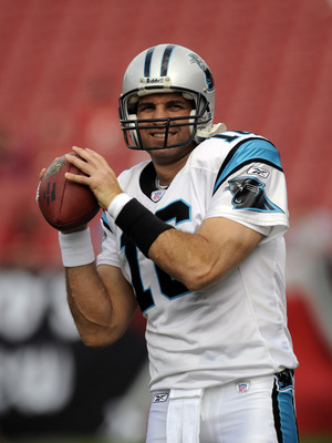 TAMPA, FL -  DECEMBER 30: Quarterback Vinny Testaverde of the Carolina Panthers warms up before play against the Tampa Bay Buccaneers at Raymond James Stadium December 30, 2007 in Tampa, Florida.   The Panthers won 31 - 23 and Testaverde announced his ret