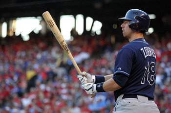 ARLINGTON, TX - OCTOBER 09:  Ben Zobrist #18 of the Tampa Bay Rays on deck against the Texas Rangers during game 3 of the ALDS at Rangers Ballpark in Arlington on October 9, 2010 in Arlington, Texas.  (Photo by Ronald Martinez/Getty Images)