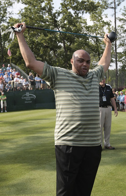 BIRMINGHAM, AL - MAY 14:  Former basketball star Charles Barkley prepares to tee off on the first hole during the Thursday Pro-AM of the Regions Charity Classic at the Robert Trent Jones Golf Trail at Ross Bridge on May 14, 2009  in Birmingham, Alabama.
