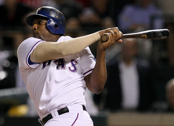 ARLINGTON, TX - OCTOBER 22:  Vladimir Guerrero #27 of the Texas Rangers hits a two run double against the New York Yankees in the fifth inning of Game Six of the ALCS during the 2010 MLB Playoffs at Rangers Ballpark in Arlington on October 22, 2010 in Arl
