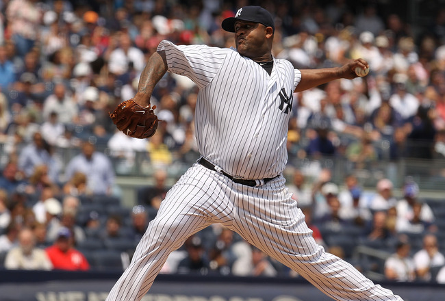 NEW YORK - MAY 29:  CC Sabathia #52 of the New York Yankees pitches against the Cleveland Indians on May 29, 2010 at Yankee Stadium in the Bronx borough of New York City.  (Photo by Al Bello/Getty Images)