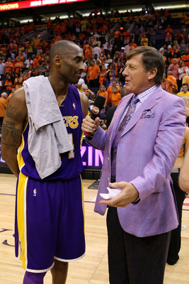 PHOENIX - MAY 29:  Kobe Bryant #24 of the Los Angeles Lakers is interviewed by Craig Sager after defeating the Phoenix Suns 111-103 in Game Six of the Western Conference Finals during the 2010 NBA Playoffs at US Airways Center on May 29, 2010 in Phoenix,