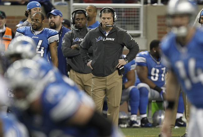 DETROIT, MI - JANUARY 02:  Head coach Jim Schwartz of the Detroit Lions looks on while playing the Minnesota Vikings at Ford Field on January 2, 2011 in Detroit, Michigan. Detroit won the game 20-13.  (Photo by Gregory Shamus/Getty Images)