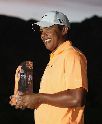 Jhonattan Vegas after winning the Sony Open in Hawaii