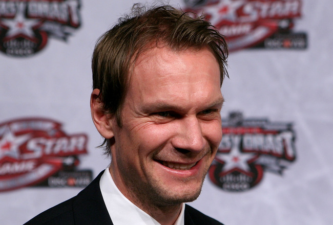 RALEIGH, NC - JANUARY 28:  Nicklas Lidstrom of the Detroit Red Wings answers questions during NHL All Star Player Media Availability apart of the 2011 NHL All-Star Weekend at the Raleigh Convention Center on January 28, 2011 in Raleigh, North Carolina.  (