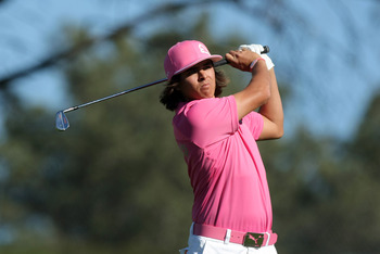 LA JOLLA, CA - JANUARY 27: Rickie Fowler tees off the 17th hole during the first round of the Farmers Insurance Open at Torrey Pines on January 27, 2011 in La Jolla, California. (Photo by Donald Miralle/Getty Images)