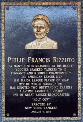 NEW YORK - MAY 02:  The plaque of Phil Rizzuto is seen in Monument Park at Yankee Stadium prior to the game between the New York Yankees and the Chicago White Sox on May 2, 2010 in the Bronx borough of New York City. The Yankees defeated the White Sox 12-