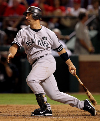 ARLINGTON, TX - OCTOBER 15:  Jorge Posada #20 of the New York Yankees bats against the Texas Rangers in Game One of the ALCS during the 2010 MLB Playoffs at Rangers Ballpark in Arlington on October 15, 2010 in Arlington, Texas. The Yankees won 6-5. (Photo