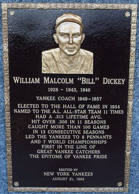 NEW YORK - MAY 02:  The plaque of Bill Dickey is seen in Monument Park at Yankee Stadium prior to the game between the New York Yankees and the Chicago White Sox on May 2, 2010 in the Bronx borough of New York City. The Yankees defeated the White Sox 12-3