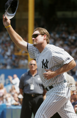 NEW YORK - JULY 9:  Wade Boggs waves to the fans during the New York Yankees 59th annual old-timers' day before the start of the Yankees game against the Cleveland Indians on July 9, 2005 at Yankee Stadium in the Bronx borough of New York City. The Indian