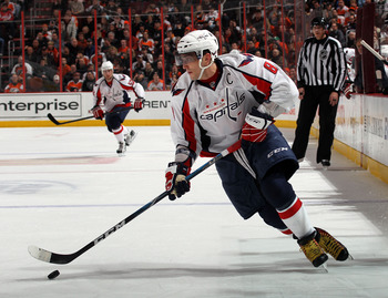 PHILADELPHIA, PA - JANUARY 18:  Alex Ovechkin #8 of the Washington Capitals skates against the Philadelphia Flyers at the Wells Fargo Center on January 18, 2011 in Philadelphia, Pennsylvania.  (Photo by Bruce Bennett/Getty Images)