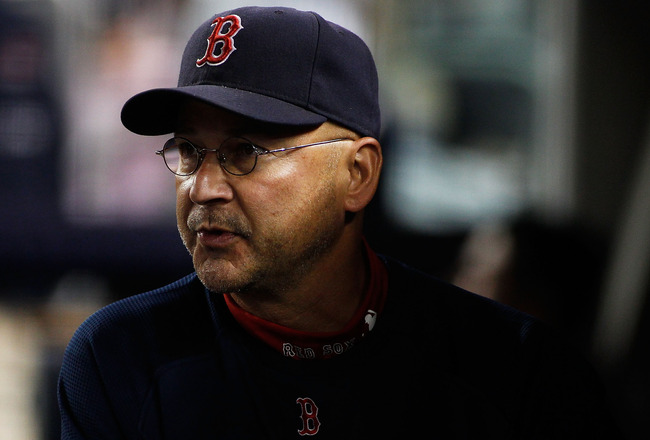 NEW YORK - SEPTEMBER 26:  Manager Terry Francona #47 of the Boston Red Sox looks on prior to their game against the New York Yankees on September 26, 2010 at Yankee Stadium in the Bronx borough of New York City.  (Photo by Mike Stobe/Getty Images)