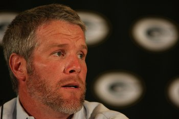 GREEN BAY, WI - MARCH 06: Quarterback Brett Favre of the Green Bay Packers announces his retirement at a press conference on March 6, 2008 at Lambeau Field in Green Bay, Wisconsin. (Photo by Jonathan Daniel/Getty Images)