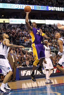 DALLAS, TX - JANUARY 19:  Guard Kobe Bryant #24 of the Los Angeles Lakers takes a shot against the Dallas Mavericks at American Airlines Center on January 19, 2011 in Dallas, Texas.  NOTE TO USER: User expressly acknowledges and agrees that, by downloadin
