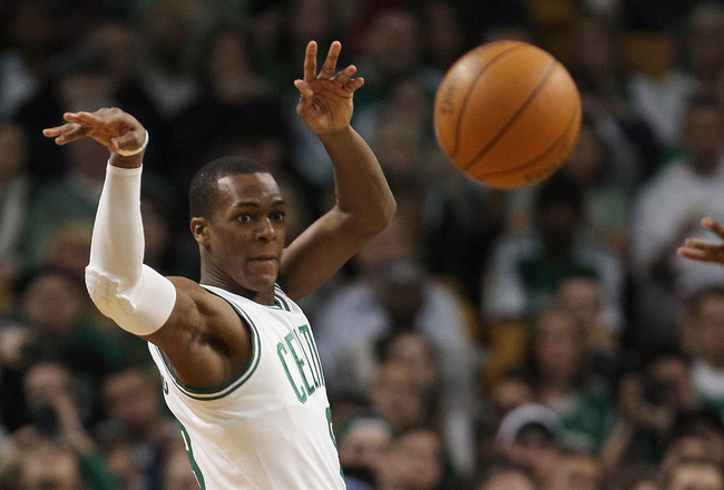 BOSTON, MA - JANUARY 10:  Rajon Rondo #9 of the Boston Celtics passes the ball in the second half against the Houston Rockets on January 10, 2011 at the TD Garden in Boston, Massachusetts.  The Rockets defeated the Celtics 108-102. NOTE TO USER: User expr