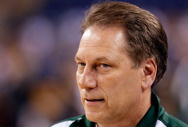 INDIANAPOLIS - APRIL 02:  Head coach Tom Izzo of the Michigan State Spartans looks on during practice prior to the 2010 Final Four of the NCAA Division I Men's Basketball Tournament at Lucas Oil Stadium on April 2, 2010 in Indianapolis, Indiana.  (Photo b
