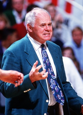28 JAN 1993:  MICHIGAN STATE BASKETBALL COACH JUD HEATHCOTE REACTS TO A PLAY DURING A GAME AGAINST IOWA STATE. Mandatory Credit: DUANE BURLESON/ALLSPORT