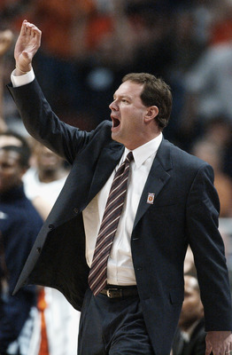 CHICAGO - MARCH 16:  Head coach Bill Self of the University Illinois at Urbana-Champaign Fighting Illini yells during the Big Ten Men's Basketball Tournament Championship against the Ohio State University Buckeyes at the United Center on March 16, 2003 in