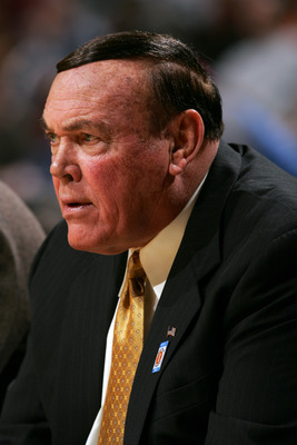 CHICAGO - MARCH 10:  Head coach Gene Keady of the Purdue Boilermakers  looks on against Iowa Hawkeyes during the first day of the Big Ten Men's Conference Basketball Tournament March 10, 2005 at the United Center in Chicago, Illinois. The game was Keady's