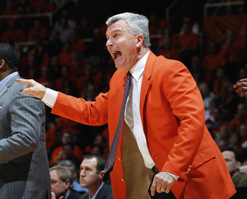 CHAMPAIGN, IL - JANUARY 22: Illinois Fighting Illini head coach Bruce Weber yells to his team during the game against the Ohio State Buckeyes at Assembly Hall on January 22, 2011 in Champaign, Illinois. Ohio State won 73-68. (Photo by Joe Robbins/Getty Im