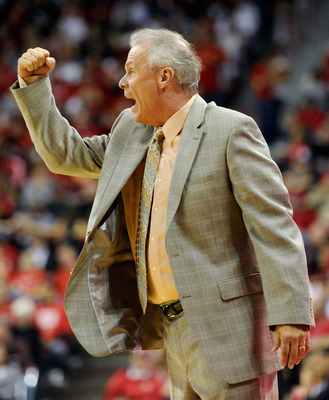 LAS VEGAS - NOVEMBER 20:  Head coach Bo Ryan of the Wisconsin Badgers argues a referee's call during a game against the UNLV Rebels at the Thomas & Mack Center November 20, 2010 in Las Vegas, Nevada. UNLV won 68-65.  (Photo by Ethan Miller/Getty Images)