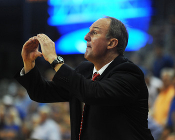 GAINESVILLE, FL - NOVEMBER 16: Coach Thad Matta of the Ohio State Buckeyes directs play against the Florida Gators November 16, 2010 at the Stephen C. O'Connell Center in Gainesville, Florida.  (Photo by Al Messerschmidt/Getty Images)