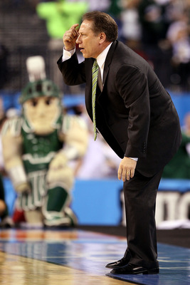 INDIANAPOLIS - APRIL 03:  Head coach Tom Izzo of the Michigan State Spartans reacts from the sideline in the first half while taking on the Butler Bulldogs during the National Semifinal game of the 2010 NCAA Division I Men's Basketball Championship on Apr