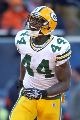 CHICAGO, IL - JANUARY 23:  Running back James Starks #44 of the Green Bay Packers reacts after his four-yard second quarter touchdown run against the Chicago Bears in the NFC Championship Game at Soldier Field on January 23, 2011 in Chicago, Illinois.  (P