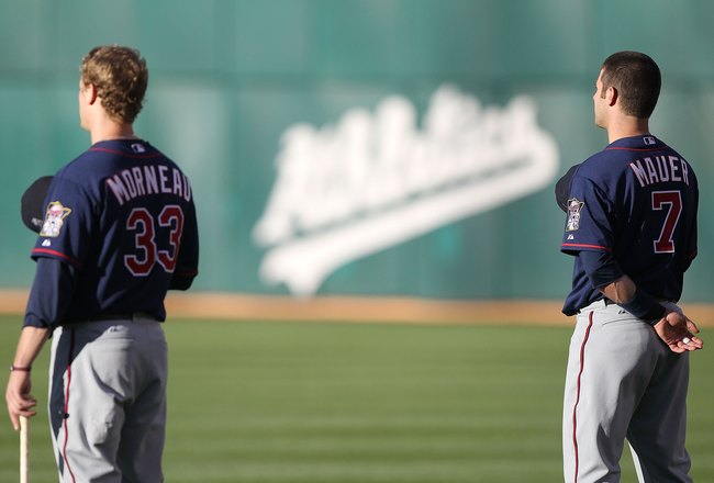 OAKLAND, CA - JUNE 04:  Justin Morneau #33 and Joe Mauer #7 of the Minnesota Twins look on against the Oakland Athletics during an MLB game at the Oakland-Alameda County Coliseum on June 4, 2010 in Oakland, California.  (Photo by Jed Jacobsohn/Getty Image
