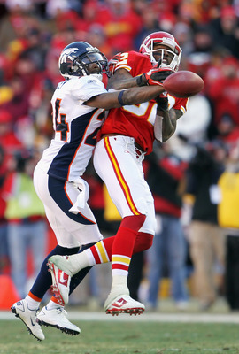 KANSAS CITY, MO - DECEMBER 05:  Champ Bailey #24 of the Denver Broncos breaks up a pass intended for Dwayne Bowe #82 of the Kansas City Chiefs during the game on December 5, 2010 at Arrowhead Stadium in Kansas City, Missouri.  (Photo by Jamie Squire/Getty