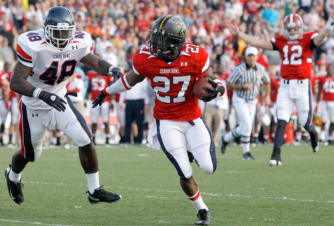 MOBILE, AL - JANUARY 29: Running back Noel Devine #27 of the Under Armour South Team scores a touchdown during the second quarter of the Under Armour Senior Bowl on January 29, 2011 at Ladd-Pebbles Stadium in Mobile, Alabama.  (Photo by Sean Gardner/Getty