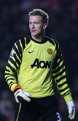 SOUTHAMPTON, ENGLAND - JANUARY 29: Goalkeeper Anders Lindegaard of Manchester United looks on during the FA Cup sponsored by E.ON 4th Round match between Southampton and Manchester United at St Mary's Stadium on January 29, 2011 in Southampton, England.