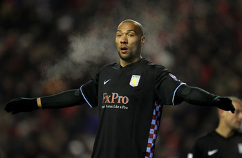 LIVERPOOL, ENGLAND - DECEMBER 06:  John Carew of Aston Villa looks on during the Barclays Premier League match between Liverpool and Aston Villa at Anfield on December 6, 2010 in Liverpool, England. (Photo by Mark Thompson/Getty Images)