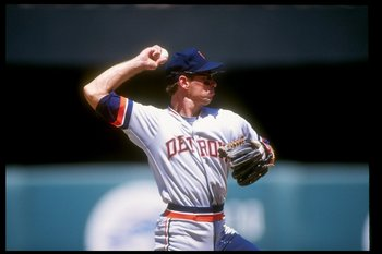 Shortstop Alan Trammell of the Detroit Tigers throws the ball during a game.