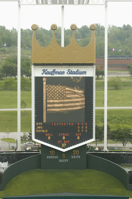 KANSAS CITY, MO - MAY 12:  The Kauffman Stadium scoreboard displays the American Flag prior to the game between the Kansas City Royals and the Toronto Blue Jays on May 12, 2004 in Kansas City, Missouri.  The Royals won 4-3.  (Photo by Larry W. Smith/Getty