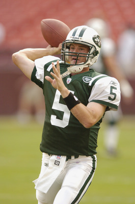 LANDOVER, MD - AUGUST 19:  Quarterback Brooke Bollinger #5 of the New York Jets warms-up during the NFL preseason game against the Washington Redskins August 19, 2006 at FedEx Field in Landover, Maryland.  (Photo by Greg Fiume/Getty Images)