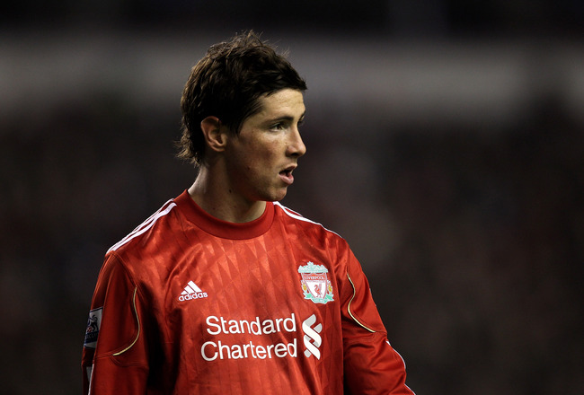 LIVERPOOL, ENGLAND - NOVEMBER 20:  Fernando Torres of Liverpool looks on during the Barclays Premier League match between Liverpool and West Ham United at Anfield on November 20, 2010 in Liverpool, England.  (Photo by Alex Livesey/Getty Images)