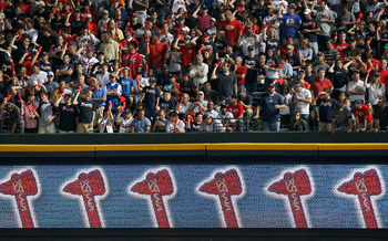 ATLANTA - OCTOBER 11:  Fans of the Atlanta Braves cheer against the San Francisco Giants during Game Four of the NLDS of the 2010 MLB Playoffs at Turner Field on October 11, 2010 in Atlanta, Georgia.  (Photo by Kevin C. Cox/Getty Images)