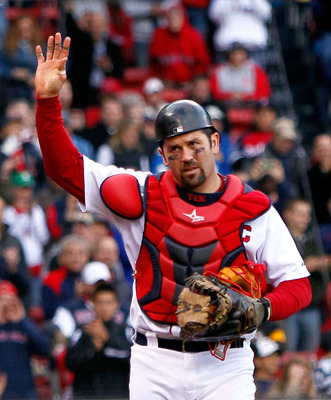 BOSTON - OCTOBER 3:  Jason Varitek #33 of the Boston Red Sox  reacts to fan applause as he leaves the field  for a replacement in the ninth inning against the New York Yankees at Fenway Park, October 3, 2010, in Boston, Massachusetts. The Red Sox won 8-4.