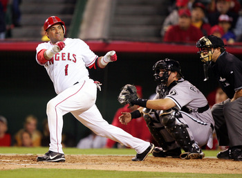 ANAHEIM, CA - OCTOBER 16:  Catcher Bengie Molina #1 of the Los Angeles Angels of Anaheim loses his bat in the fourth inning against the Chicago White Sox in Game Five of the American League Championship Series on October 16, 2005 at Angel Stadium in Anahe