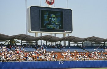 LOS ANGELES - JUNE 27:  The video board at Dodger Stadium shows a tribute to former Brooklyn Dodgers catcher Roy Campanella, who died the previous day, before the Los Angeles Dodgers game against the Chicago Cubs on June 27, 1993 in Los Angeles, Californi
