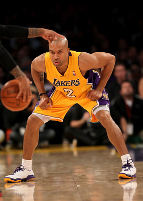 LOS ANGELES, CA - JANUARY 11:   Derek Fisher #2 of the Los Angeles Lakers sets up on defense against the Cleveland Cavaliers at Staples Center on January 11, 2011 in Los Angeles, California.  The Lakers won 112-57.  NOTE TO USER: User expressly acknowledg