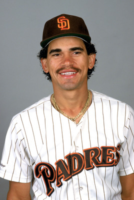 1988:  Benito Santiago of the San Diego Padres poses for a portrait during the 1988 season. (Photo by Rick Stewart/Getty Images)