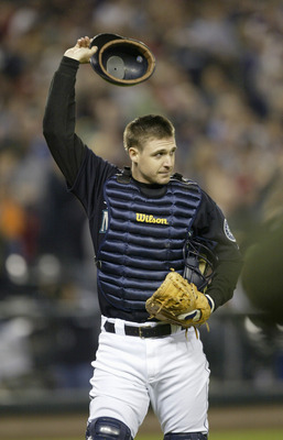 SEATTLE - SEPTEMBER 30:  Catcher Dan Wilson #6 of the Seattle Mariners waves to his fans in his final game before retiring against the Oakland Athletics on September 30 2005 at Safeco Field in Seattle Washington. The Mariners won 4-1. Wilson came back fro