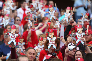 ST. LOUIS - OCTOBER 2: Fans show their support for former St. Louis Cardinals player Stan Musial in between innings as the St. Louis Cardinals play against the Colorado Rockies at Busch Stadium on October 2, 2010 in St. Louis, Missouri.  The The Cardinals