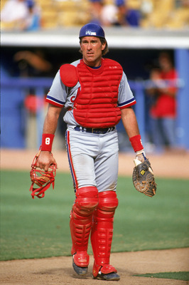 LOS ANGELES - JULY 6:  Catcher Gary Carter #8 of the Montreal Expos walks with his facemask in hand during a game against the Dodgers on July 6, 1992 at Dodger Stadium in Los Angeles, California. (Photo by Ken Levine/Getty Images)