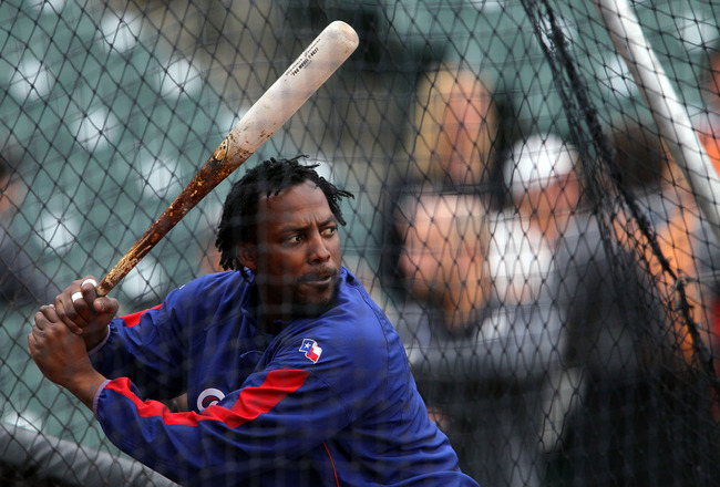 SAN FRANCISCO - OCTOBER 28:  Vladimir Guerrero #27 of the Texas Rangers takes batting practice before Game Two of the 2010 MLB World Series against the San Francisco Giants at AT&T Park on October 28, 2010 in San Francisco, California.  (Photo by Justin S